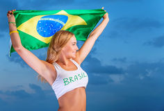 Happy fan of Brazilian football team Stock Images