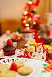 A happy fancy Christmas delicious party stock image