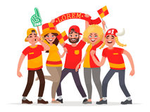 Happy fans are cheering for their team. A group of people supports athletes. Vector illustration in cartoon style Royalty Free Stock Image