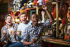 Happy fans. Expression fans with beer indoors Stock Photo