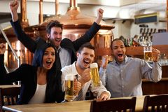 Happy fans watching TV in pub cheering Royalty Free Stock Image