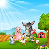 Happy farm animals in daylight. Illustration of Happy farm animals in daylight Royalty Free Stock Images
