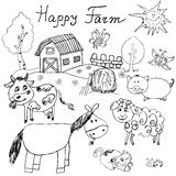 Happy farm doodles icons set. Hand drawn sketch with horse, cow, sheep pig and barn. childlike cartoony sketchy vector illustratio Stock Photography