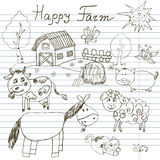 Happy farm doodles icons set. Hand drawn sketch with horse, cow, sheep pig and barn. childlike cartoony sketchy vector illustratio Royalty Free Stock Images