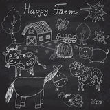 Happy farm doodles icons set. Hand drawn sketch with horse, cow, sheep pig and barn. childlike cartoony sketchy vector illustratio. N on chalkboard background Royalty Free Stock Photos