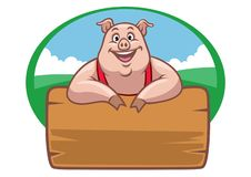 Happy farm pig with wood plank for text space. Vector of happy farm pig with wood plank for text space Royalty Free Stock Photos