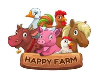 Happy farm title banner for game design. Funny cartoon farm animals with wooden plate. Vector illustration Royalty Free Stock Photo