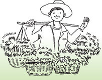 Happy farmer. Hand drawn image of a happy farmer selling vegitables vector illustration