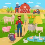 Happy farmer with agricultural landscape and farm animals standing in front of the farm barn and fields with crop. Eco. Farming concept vector illustration in Stock Photo