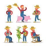 Happy Farmer Cartoon. Guy with Basket of Vegetables Stock Images