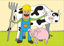 Happy farmer and friends. A farmer and his friends (cow and pig) at his farm Royalty Free Stock Photography