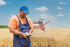 Happy farmer. During harvest wheat royalty free stock photography