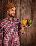 Happy farmer holding peppers on rustic wood Royalty Free Stock Photos