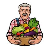 Happy farmer holding a wicker basket full of fresh vegetables. Farm, agriculture, horticulture concept. Cartoon vector royalty free illustration