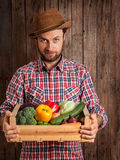 Happy farmer holding wooden box of vegetables Stock Images