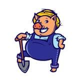 Happy farmer pig with shovel. Vector Illustration vector illustration