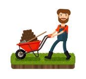Happy Farmer Pushing A Cart With Black Earth. Cartoon Vector Illustration Royalty Free Stock Photo