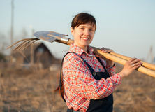 Happy farmer in rural stock photography