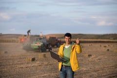 Happy farmer in soybean field Stock Photography