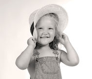 Happy Farmers daughter. Girl with hat Stock Photo