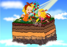 Farming. Happy farming concept illustration background royalty free illustration