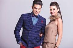 Happy fashion couple posing Stock Image
