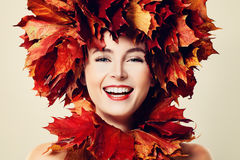 Happy Fashion Model, Autumn Holiday. Face Closeup Royalty Free Stock Photography