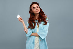 Happy Fashion Model Girl In Fashionable Clothes Showing Card Stock Photography