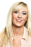 Happy fashion model with long blonde hair. Stock Photography