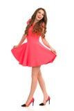 Happy Fashion Model Walking In Pink Mini Dress Royalty Free Stock Photography