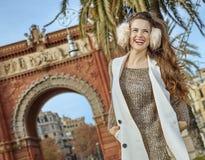 Happy fashion-monger near Arc de Triomf in Barcelona, Spain Stock Photos
