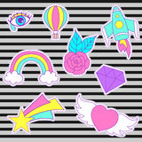 Happy fashion vector patches, retro sweet badges with heart, sta. R, diamond, eye, rainbow, space rocket, rose, air balloon. Cute pink, blue stickers, pins for Royalty Free Stock Photo