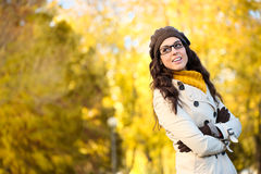 Happy fashion woman wearing glasses in autum Stock Photography