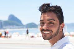 Happy fashionable guy at Rio de Janeiro Royalty Free Stock Photography