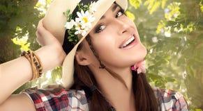 Happy Fashionable Woman Enjoying Nature Royalty Free Stock Photo
