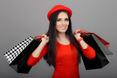 Happy Fashionable Woman with Shopping Bags Royalty Free Stock Photography