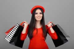 Happy Fashionable Woman with Shopping Bags Stock Image