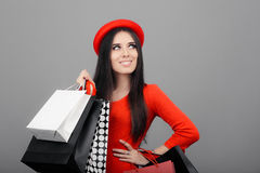 Happy Fashionable Woman with Shopping Bags Stock Photos