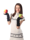 Happy fashionable young woman holding apples Stock Images
