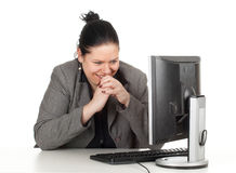 Happy fat businesswoman with computer Stock Images