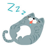 Happy fat gray cat sleeping  illustration. Happy fat gray cat sleeping Royalty Free Stock Photos