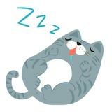Happy fat gray cat sleeping  illustration Royalty Free Stock Photos