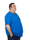 Happy fat man. Isolated on white background Stock Images