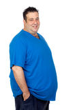 Happy fat man. Isolated on white background Stock Image