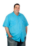 Happy fat man. With blue shirt isolated on white background Stock Images