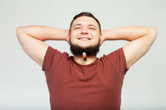 Happy fat man with beard clips Stock Images