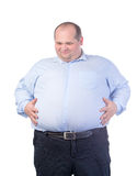 Happy Fat Man in a Blue Shirt Stock Images