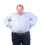 Happy Fat Man in a Blue Shirt royalty free stock images
