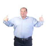 Happy Fat Man in a Blue Shirt royalty free stock photo