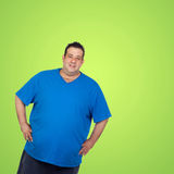 Happy fat man with blue shirt stock photo